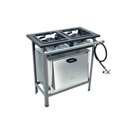 Fogão Industrial 2 Bocas 30X30 com Forno Alta Pressão S2000 Metalmaq
