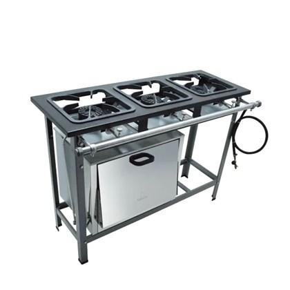 Fogão Industrial 3 bocas 30x30 com Forno Alta Pressão S2000 Metalmaq
