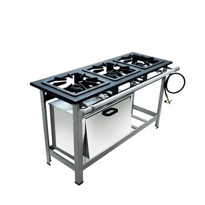 Fogão Industrial 3 bocas 40X40 com Forno Alta Pressão Metalmaq