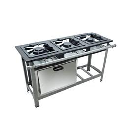 Fogão Industrial 3 bocas Duplas 40X40 com Forno Metalmaq