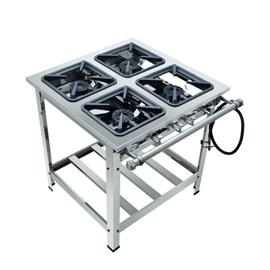 Fogão Industrial 4 bocas 30x30 A.Pressão Luxo Aço Inox 304 Metalmaq