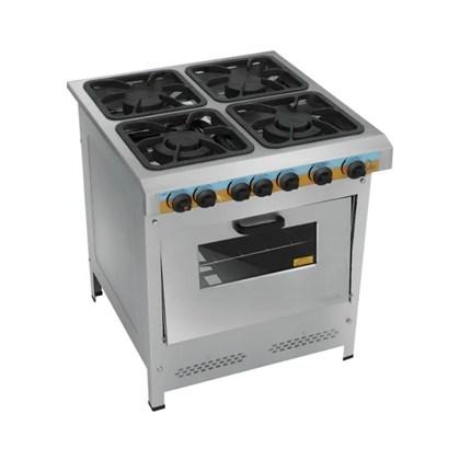 Fogão Industrial 4 Bocas 30X30 Aço Inox Home Chef Metalmaq