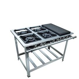 Fogão Industrial 4 bocas 30X30 Chapa Luxo Aço Inox 304 Metalmaq