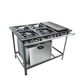 Fogão industrial 4 bocas 30x30 com chapa e forno S2000 Metalmaq