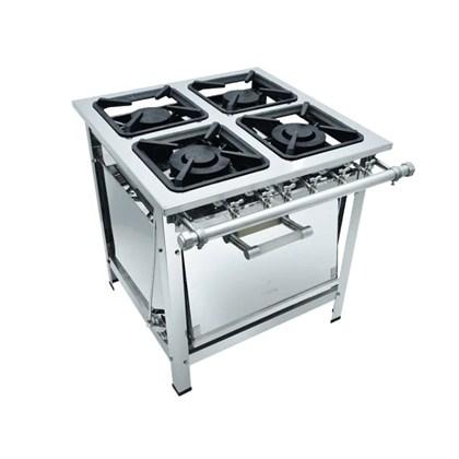 Fogão Industrial 4 bocas 30x30 Com Forno Aço Inox Luxo Metalmaq