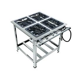 Fogão Industrial 4 Bocas 40x40 Alta Pressão Luxo Aço Inox 304 Metalmaq
