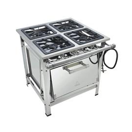 Fogão Industrial 4 Bocas 40x40 Com Forno Alta Pressão Luxo Aço Inox Metalmaq