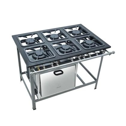 Fogão Industrial 6 Bocas 30X30 com Forno S2000 Metalmaq