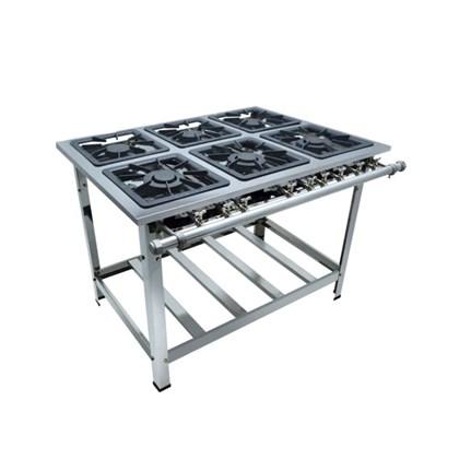 Fogão Industrial 6 Bocas 40x40 Aço Inox Metalmaq