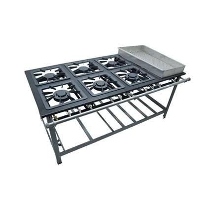 Fogão Industrial 6Bocas 40X40 com Banho Maria Luxo Metalmaq