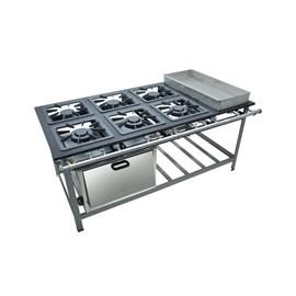 Fogão Industrial 6 bocas Duplas 30X30 com Banho Maria e Forno Centro de Cozinha Metalmaq