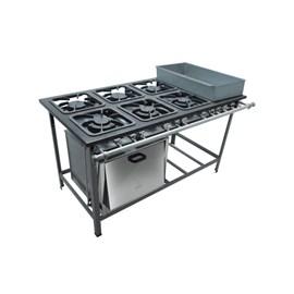 Fogão Industrial 6 bocas grelhas 30X30 com banho maria e forno M23 S2000 Metalmaq