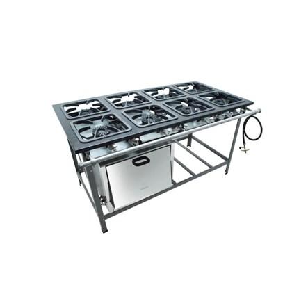 Fogão Industrial 8 bocas 30X30 com forno alta pressão S2000 Metalmaq