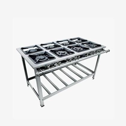 Fogão Industrial 8 bocas 30x30 Luxo Aço Inox 304 Metalmaq