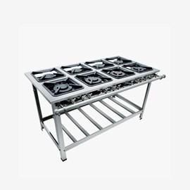 Fogão Industrial 8 bocas 30x30 Luxo Aço Inox Metalmaq