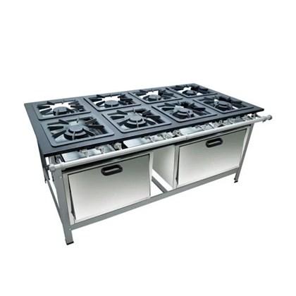 Fogão Industrial 8 Bocas 40x40 com 2 Fornos Luxo Metalmaq