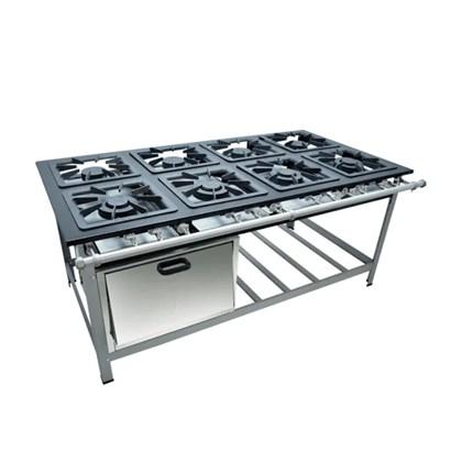 Fogão Industrial 8 Bocas 40x40 com Forno Luxo Metalmaq