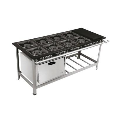Fogão Industrial 8 bocas Duplas 40X40 com Chapa e Forno Luxo Centro de Cozinha Metalmaq