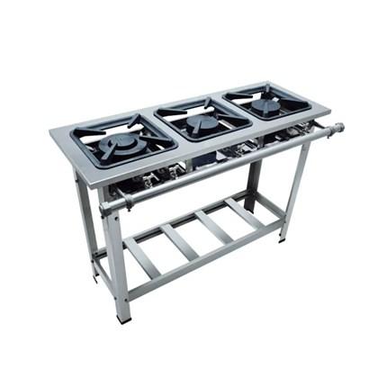 Fogão Industrial Luxo 3 bocas duplas  40X40 Aço Inox 304 Metalmaq